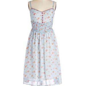 ModCloth Vintage Style Light Blue Floral Sundress